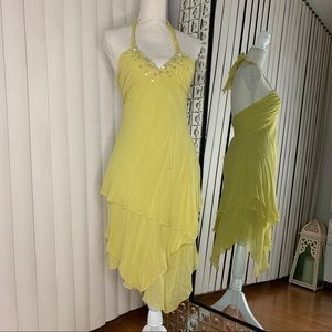 Yellow BCBG Maxazria Halter Assymetrical Dress